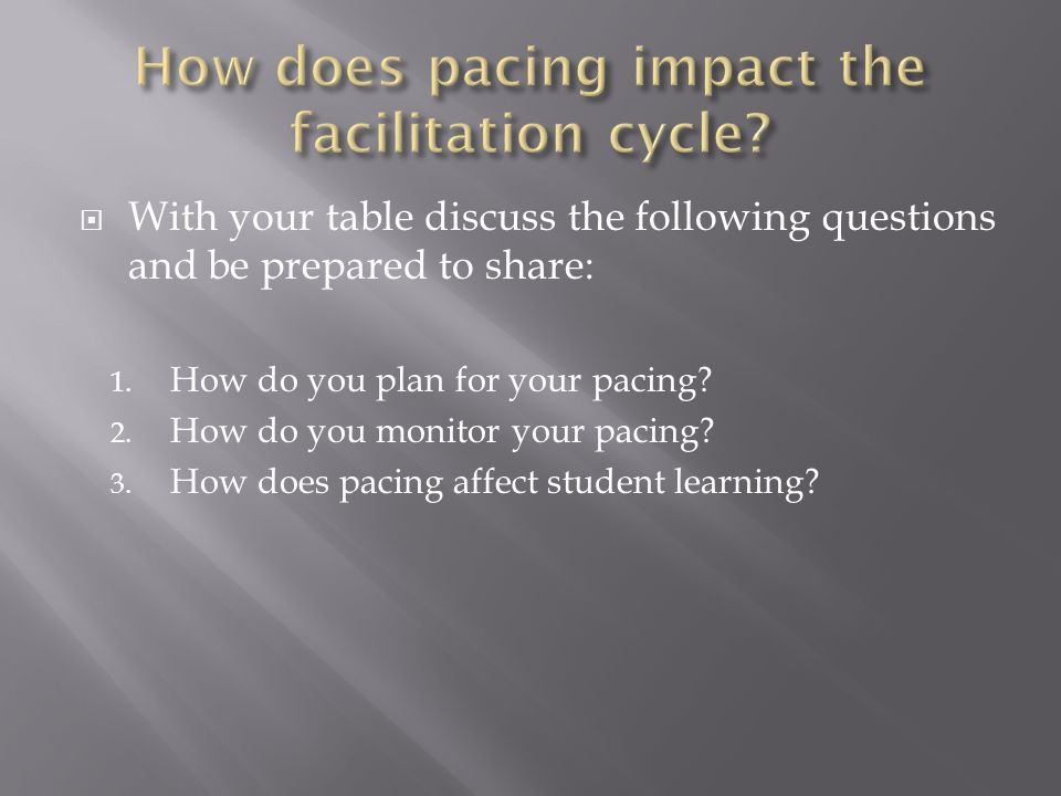 How does pacing impact the facilitation cycle