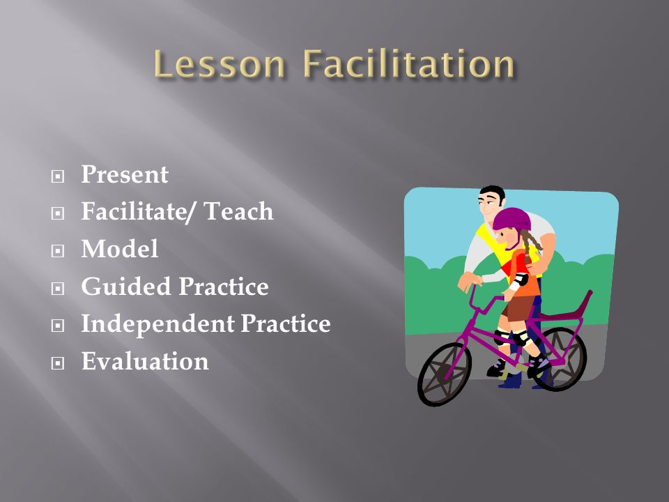 Lesson Facilitation Present Facilitate/ Teach Model Guided Practice