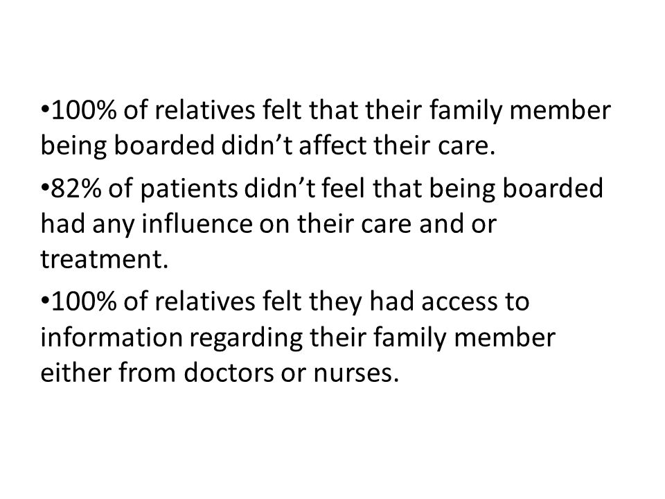 100% of relatives felt that their family member being boarded didn't affect their care.