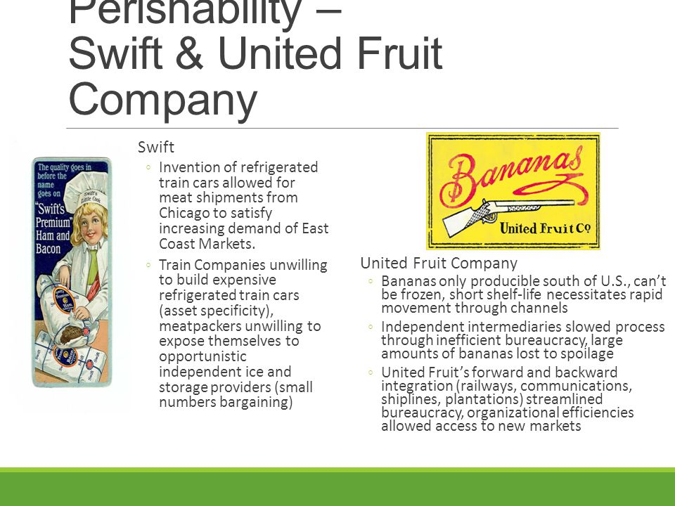 Perishability – Swift & United Fruit Company