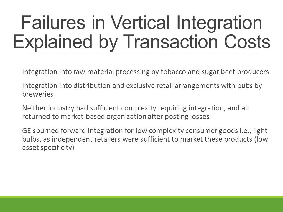Failures in Vertical Integration Explained by Transaction Costs