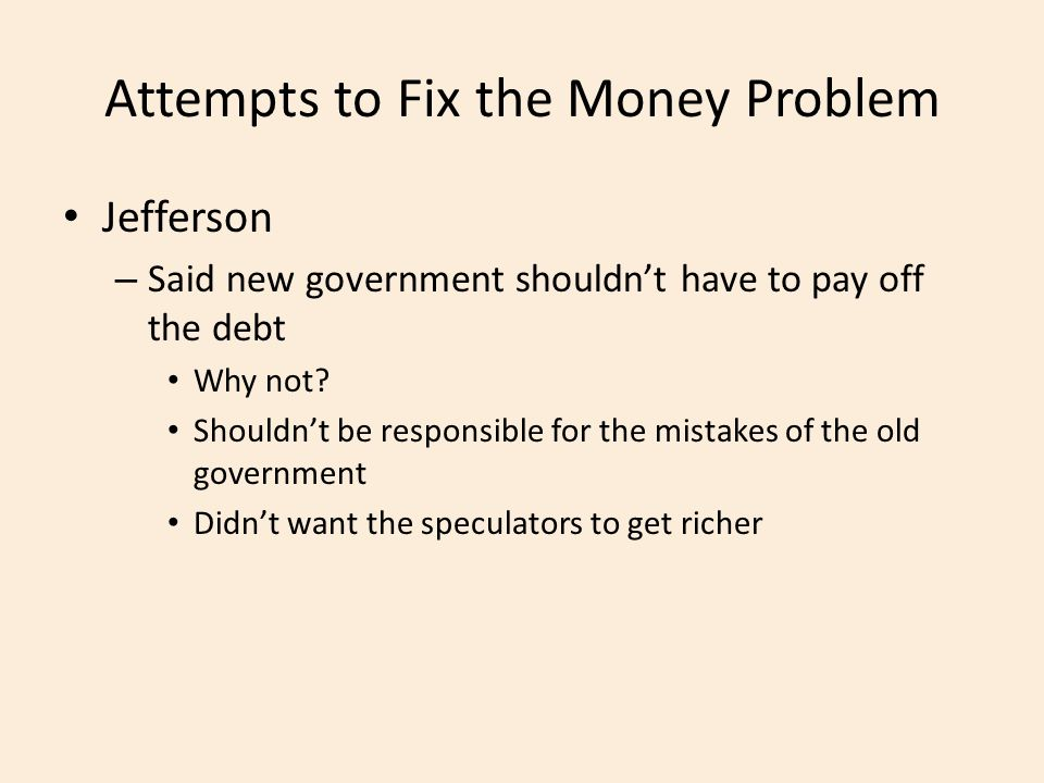 Attempts to Fix the Money Problem