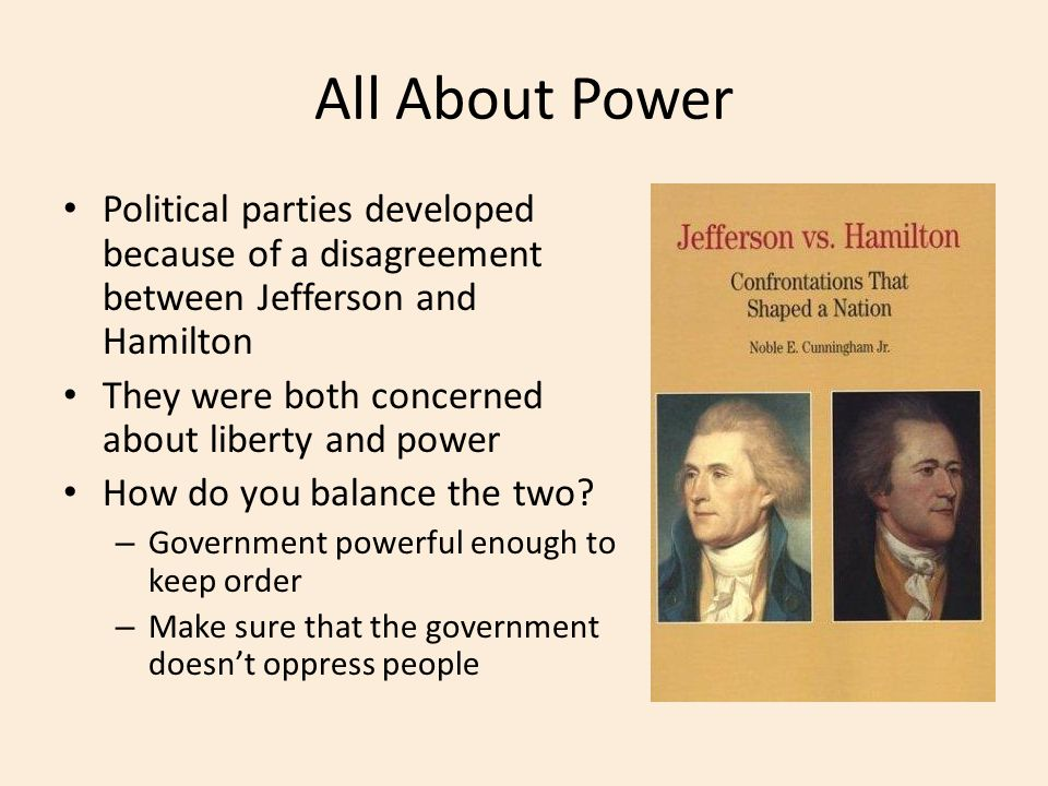 All About Power Political parties developed because of a disagreement between Jefferson and Hamilton.