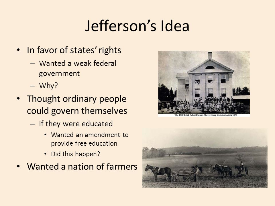 Jefferson's Idea In favor of states' rights