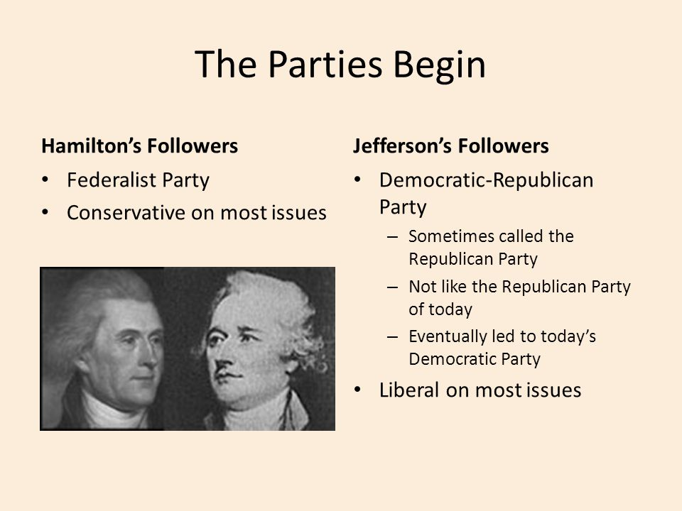 The Parties Begin Hamilton's Followers Jefferson's Followers