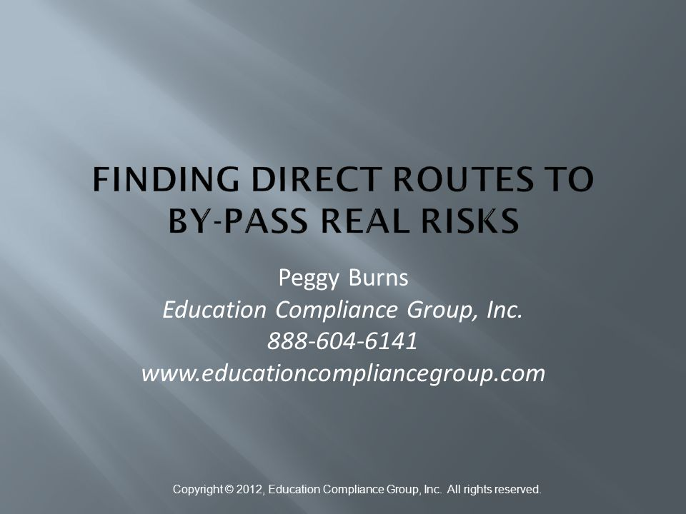 Finding Direct Routes to By-Pass Real Risks
