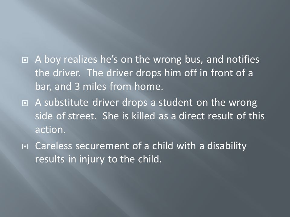 A boy realizes he's on the wrong bus, and notifies the driver