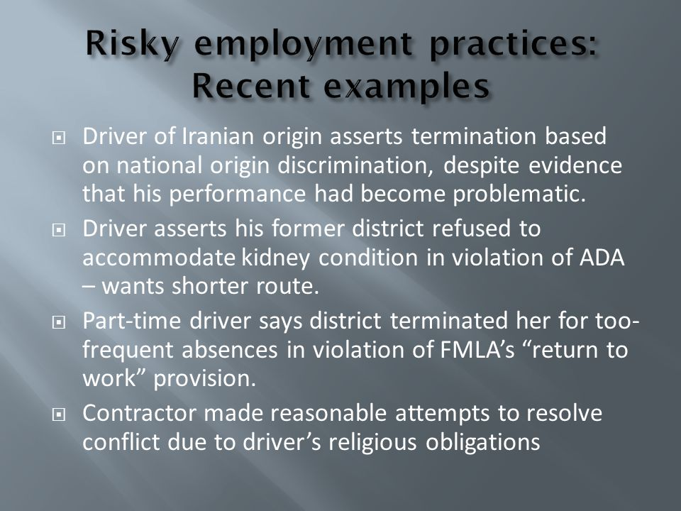 Risky employment practices: Recent examples
