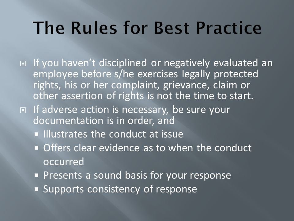 The Rules for Best Practice