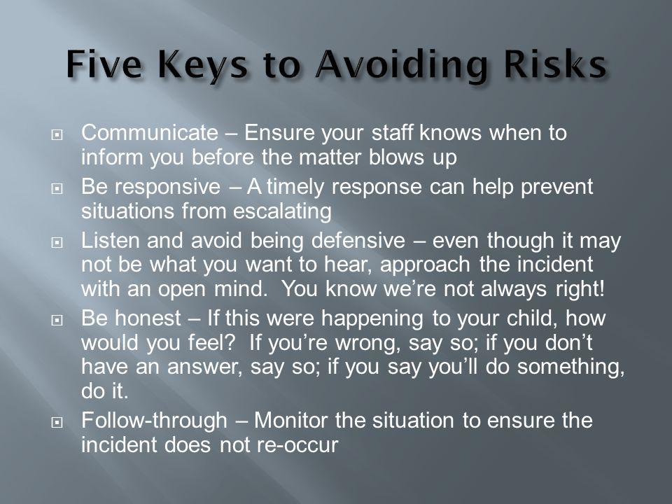 Five Keys to Avoiding Risks