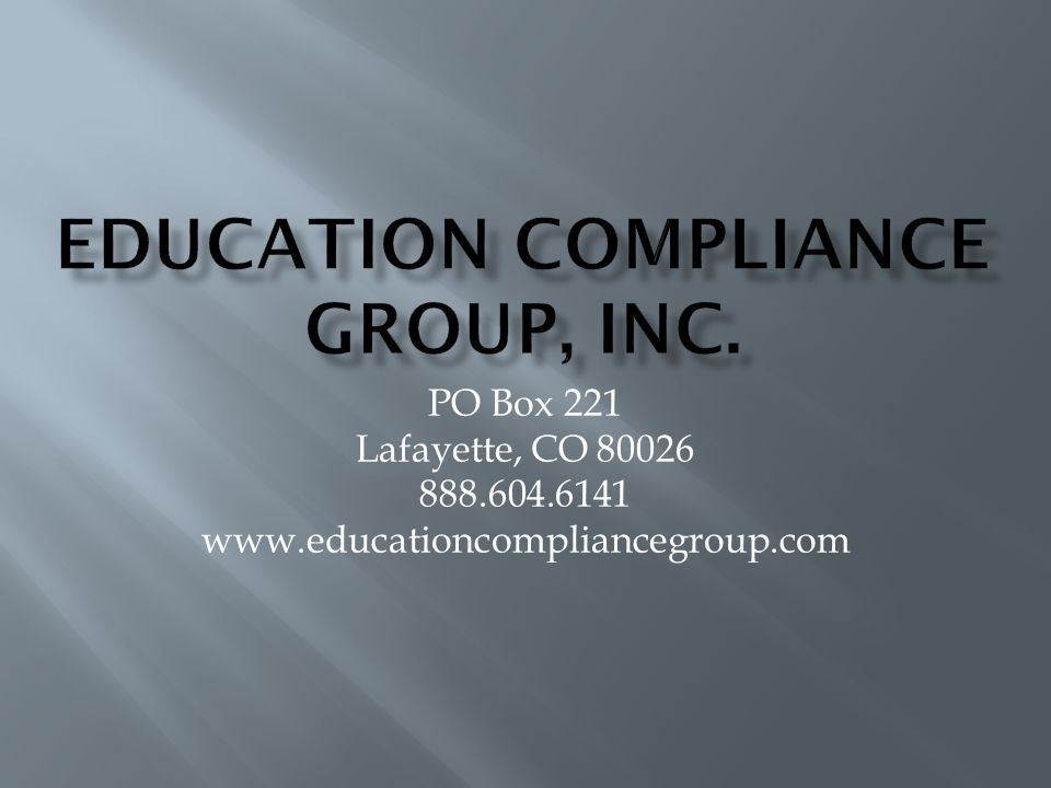 Education Compliance Group, Inc.