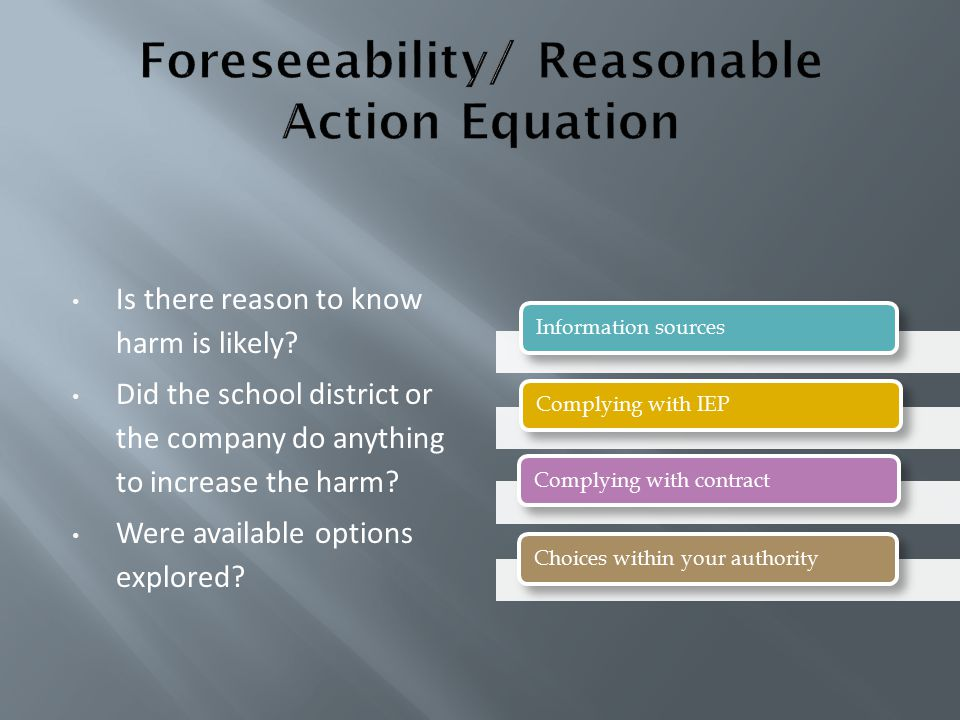 Foreseeability/ Reasonable Action Equation