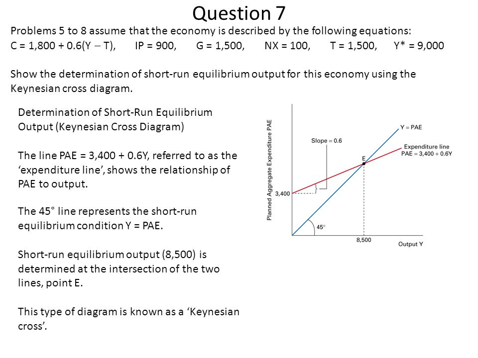 Question 7 Problems 5 to 8 assume that the economy is described by the following equations: