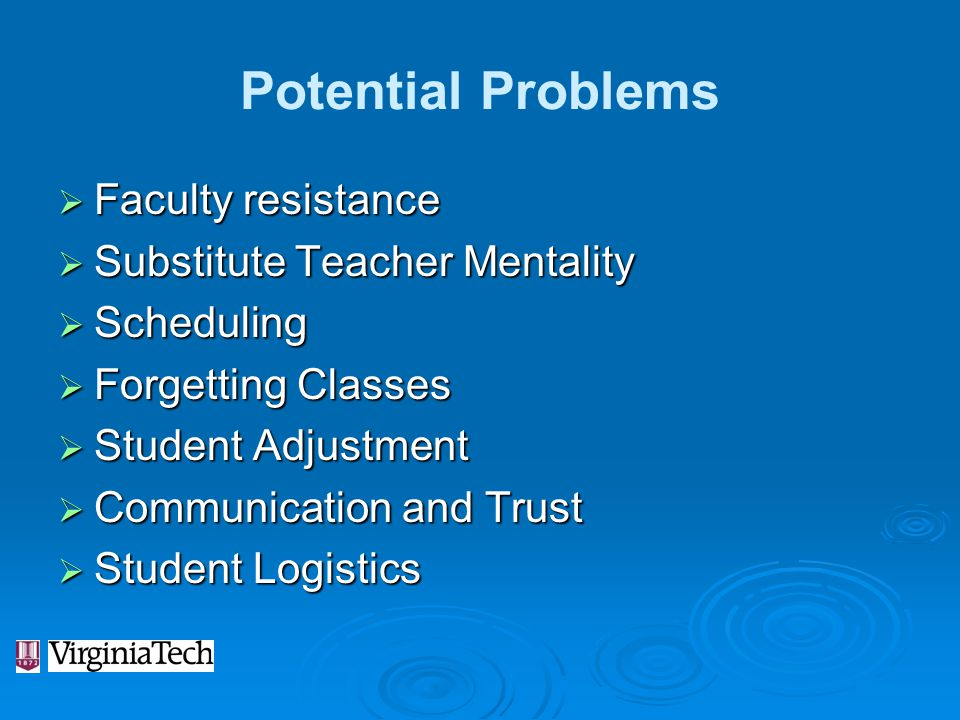 Potential Problems Faculty resistance Substitute Teacher Mentality