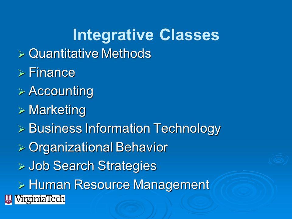 Integrative Classes Quantitative Methods Finance Accounting Marketing