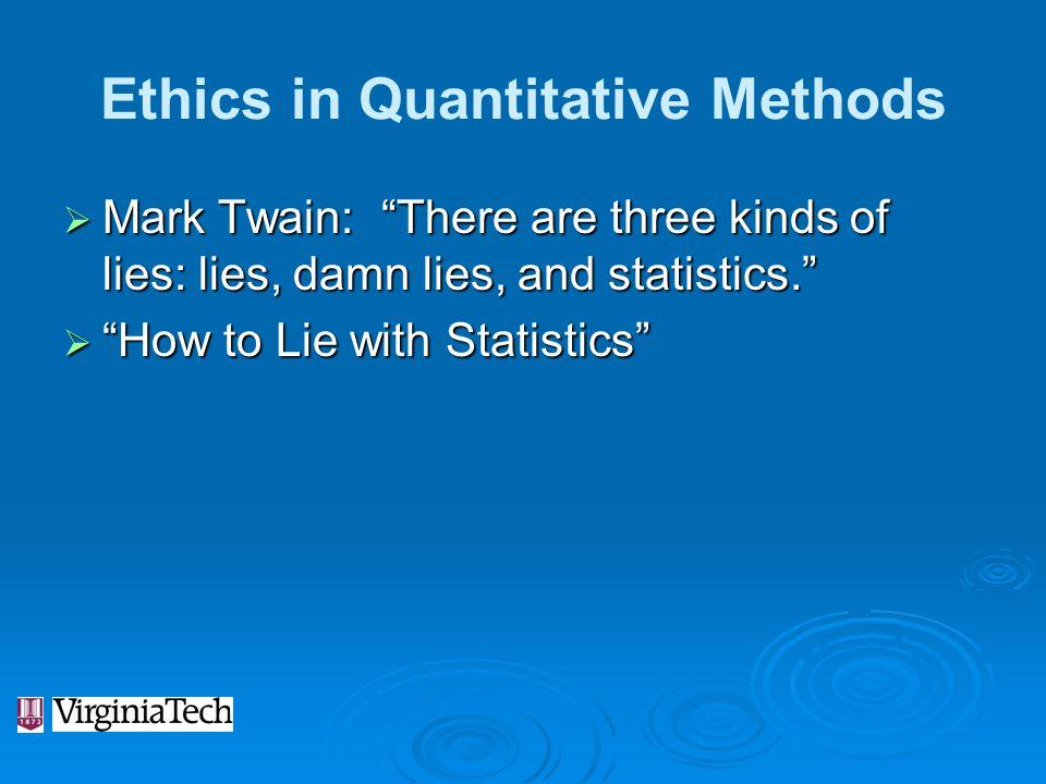 Ethics in Quantitative Methods