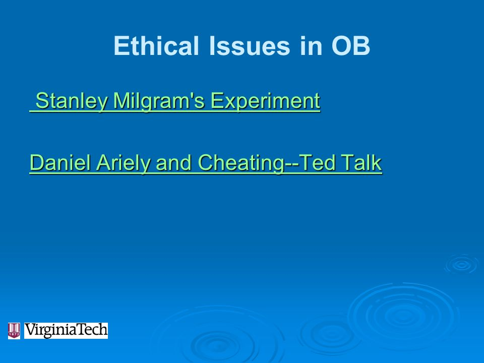 Ethical Issues in OB Stanley Milgram s Experiment Daniel Ariely and Cheating--Ted Talk