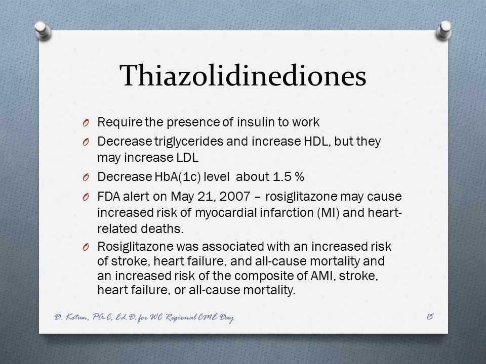 Thiazolidinediones Require the presence of insulin to work