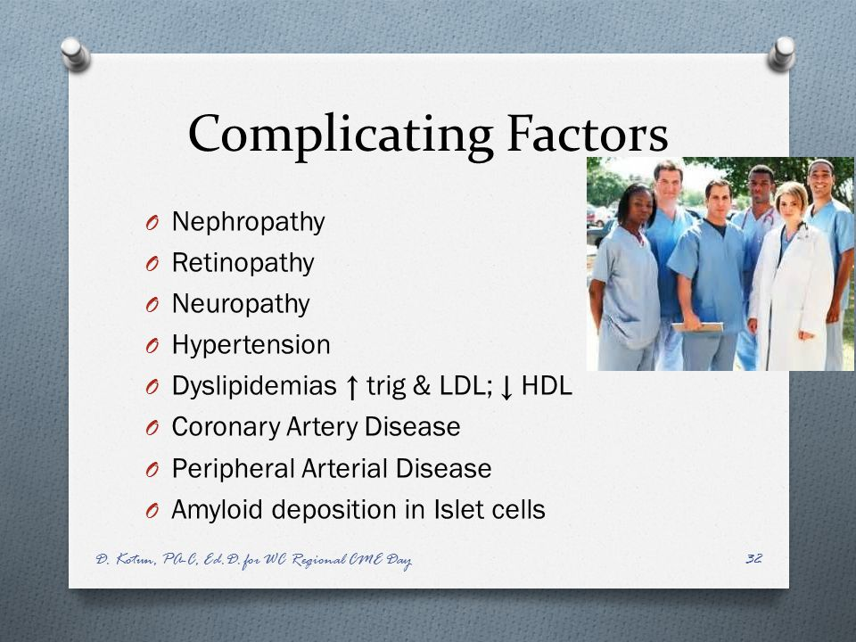 Complicating Factors Nephropathy Retinopathy Neuropathy Hypertension