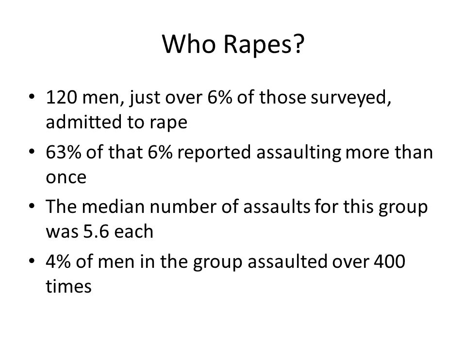 Who Rapes 120 men, just over 6% of those surveyed, admitted to rape
