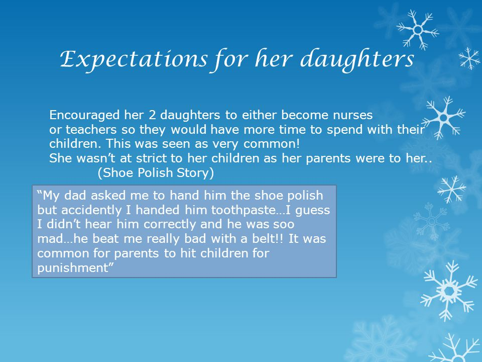 Expectations for her daughters