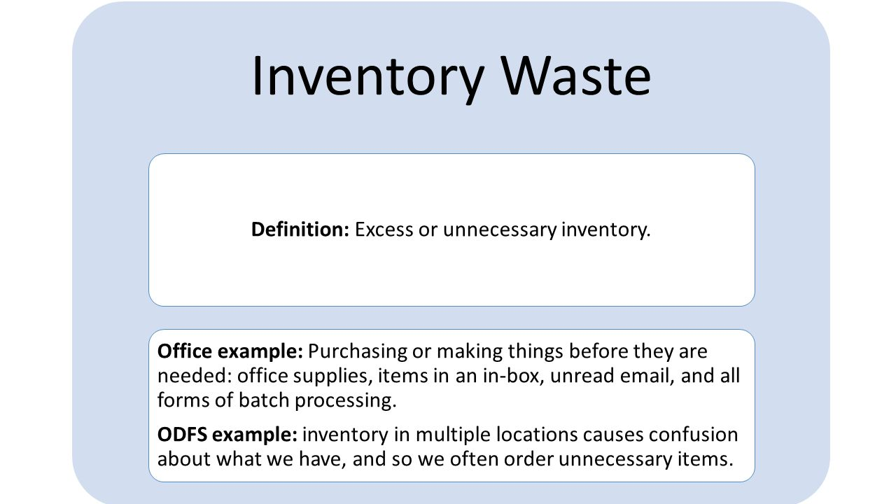 Definition: Excess or unnecessary inventory.