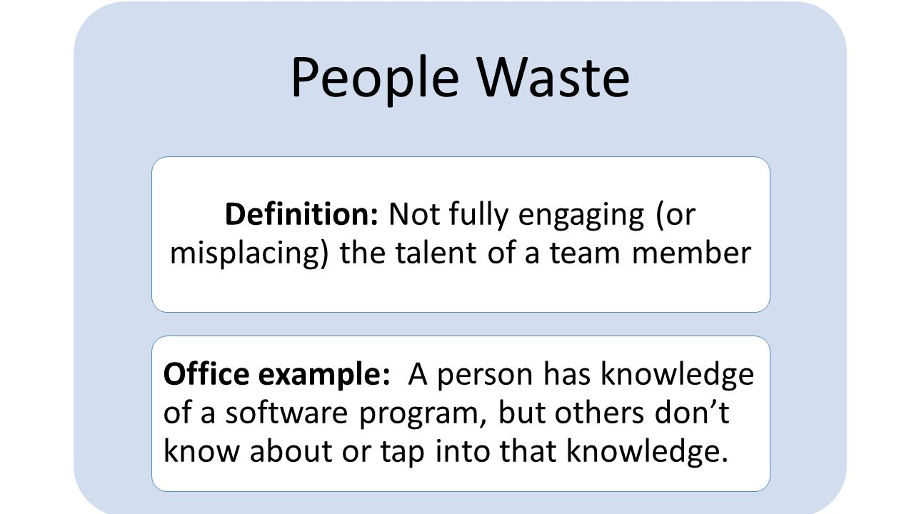 People Waste Definition: Not fully engaging (or misplacing) the talent of a team member.