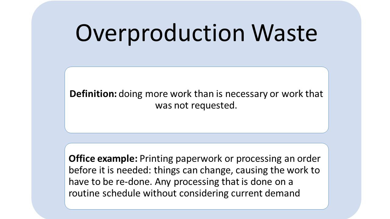 Overproduction Waste Definition: doing more work than is necessary or work that was not requested.