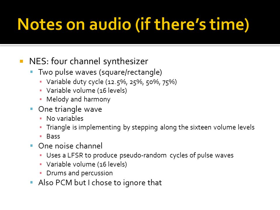 Notes on audio (if there's time)