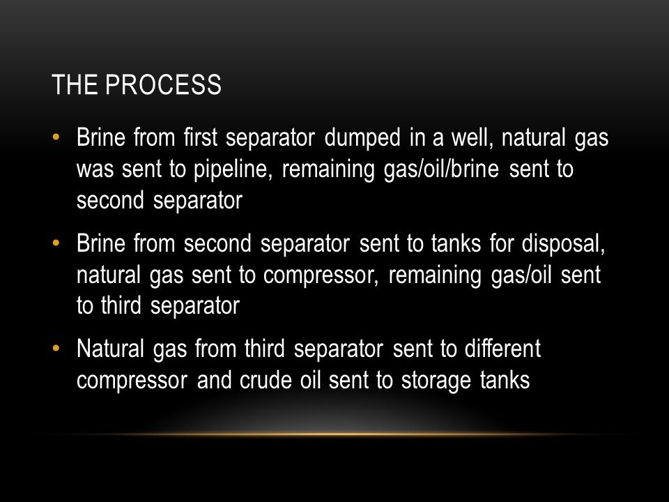 The Process Brine from first separator dumped in a well, natural gas was sent to pipeline, remaining gas/oil/brine sent to second separator.