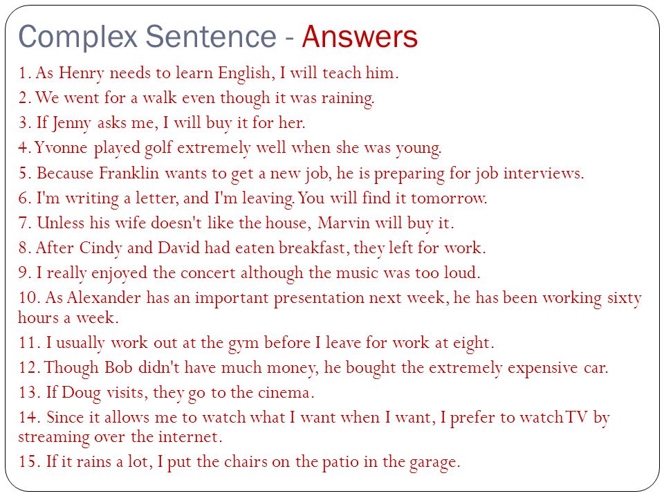 Complex Sentence - Answers
