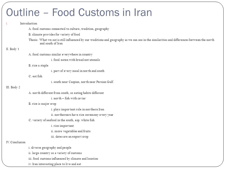 Outline – Food Customs in Iran