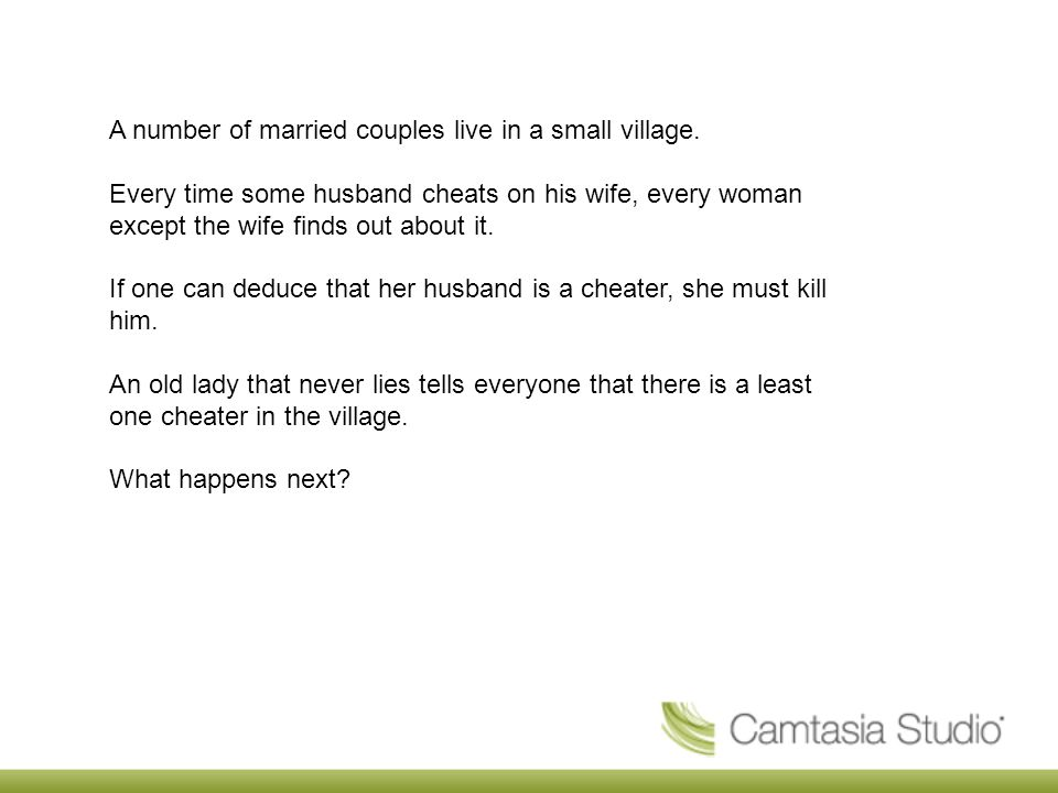 A number of married couples live in a small village.
