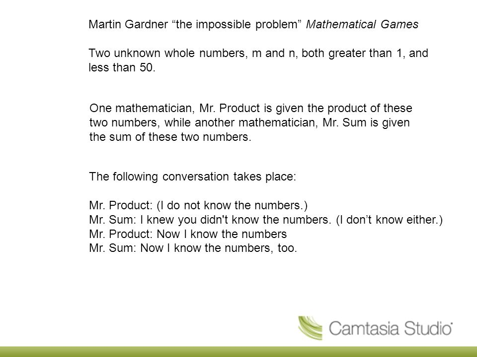 Martin Gardner the impossible problem Mathematical Games