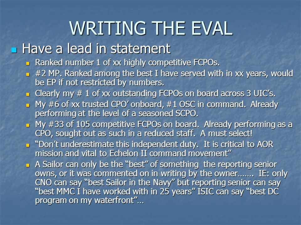 WRITING THE EVAL Have a lead in statement