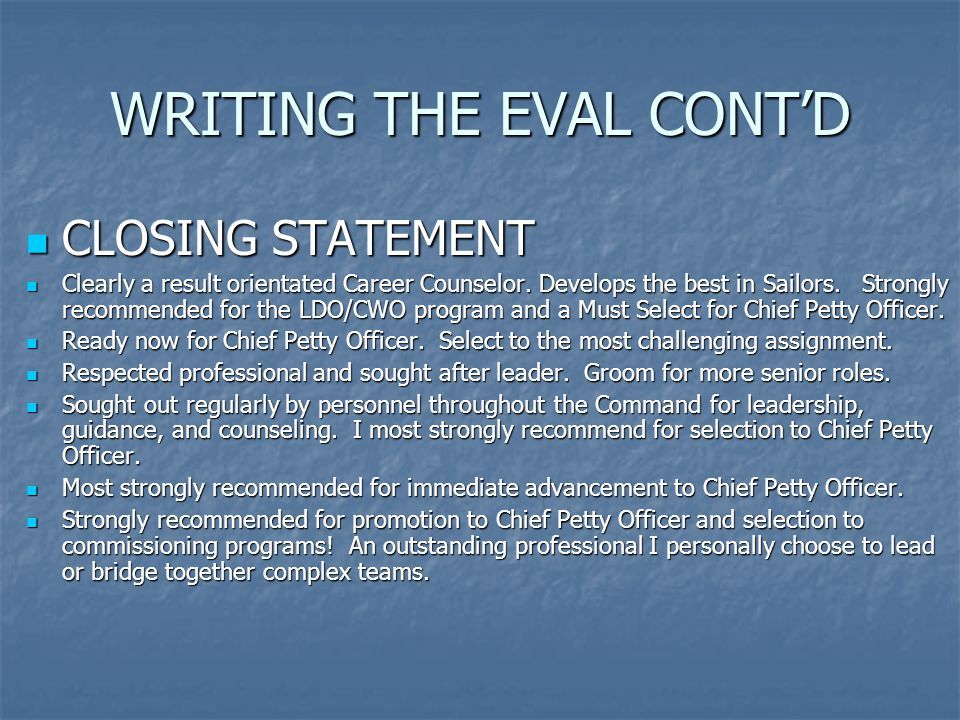 WRITING THE EVAL CONT'D