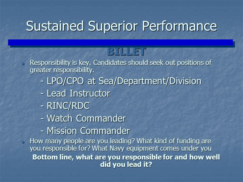 Sustained Superior Performance
