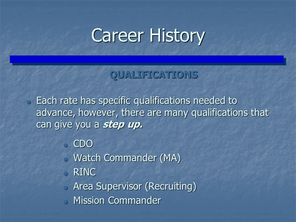 Career History QUALIFICATIONS