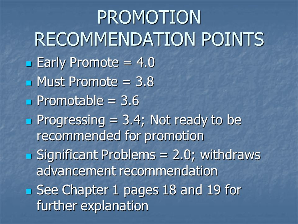 PROMOTION RECOMMENDATION POINTS