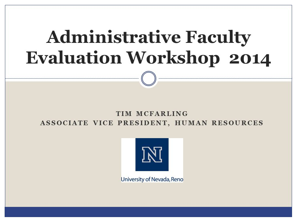 Administrative Faculty Evaluation Workshop 2014
