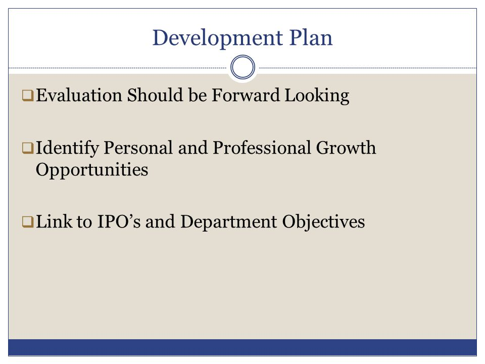 Development Plan Evaluation Should be Forward Looking