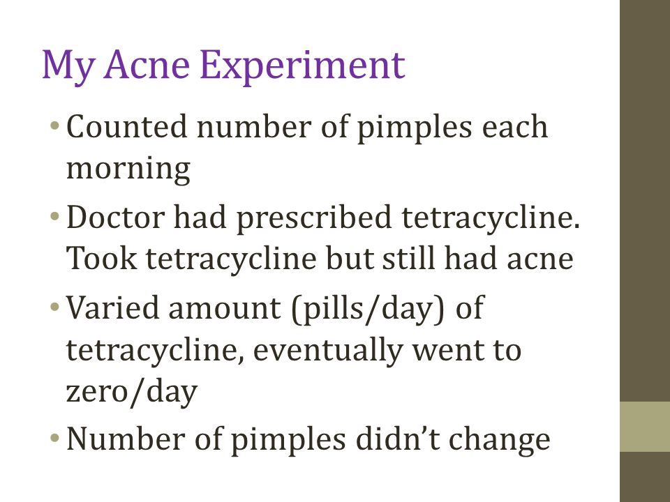 My Acne Experiment Counted number of pimples each morning