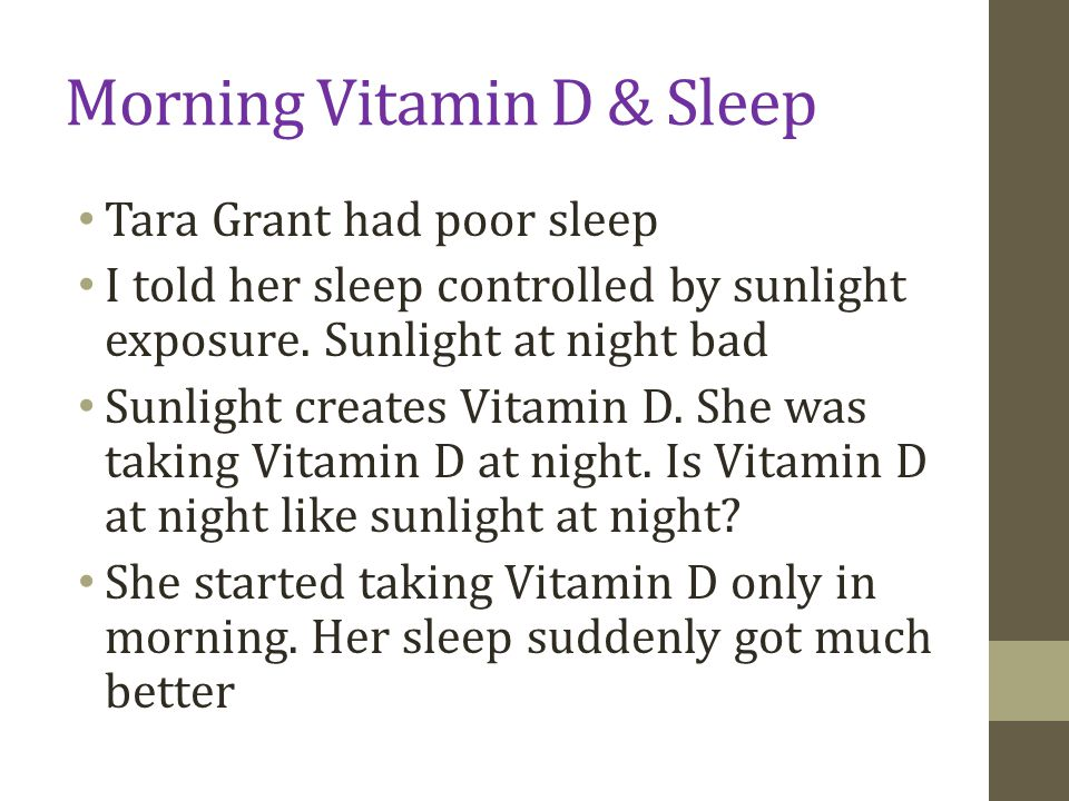 Morning Vitamin D & Sleep