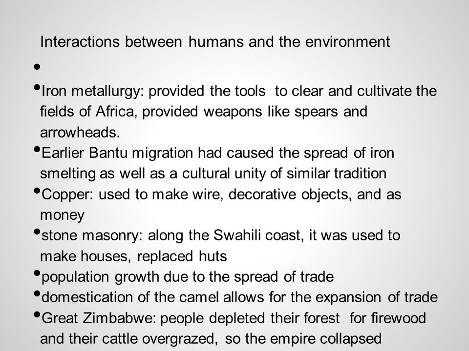 Interactions between humans and the environment