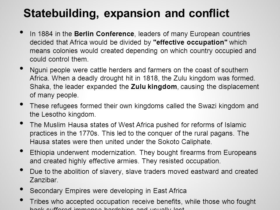Statebuilding, expansion and conflict