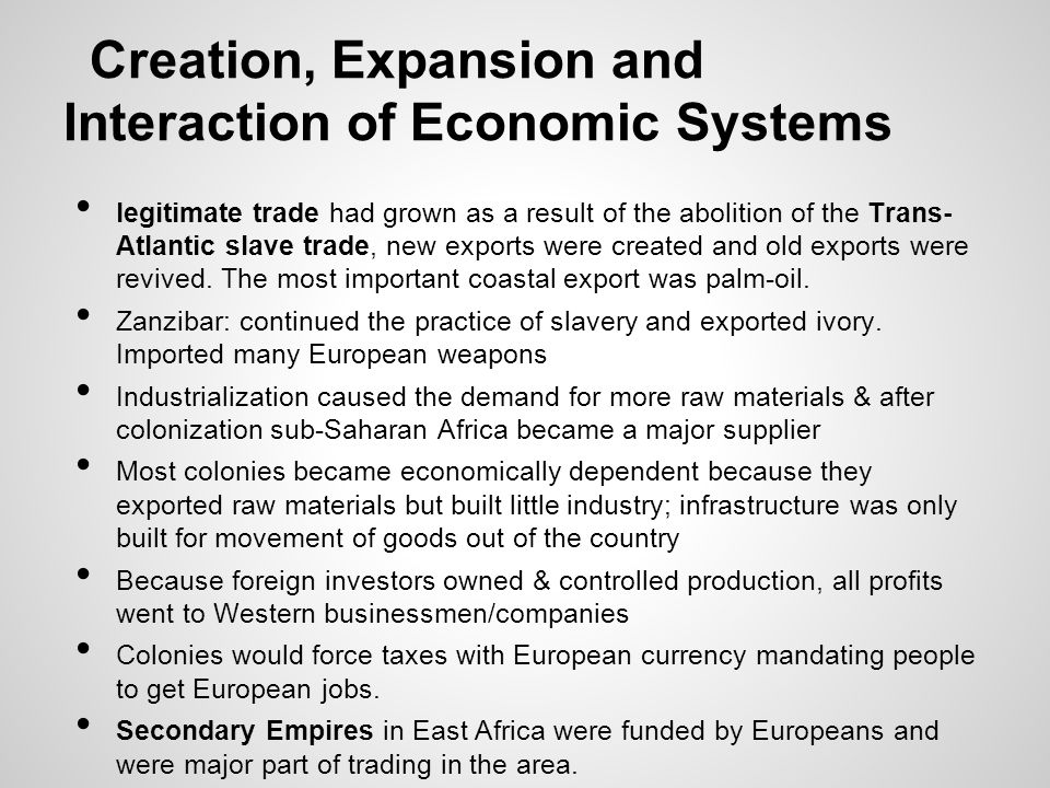 Creation, Expansion and Interaction of Economic Systems