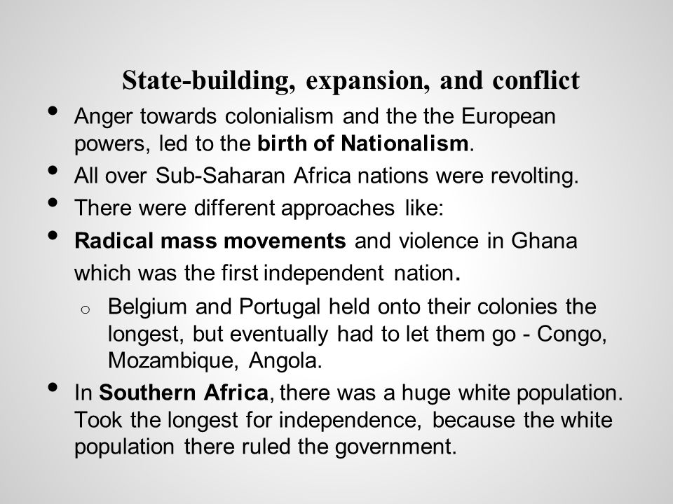 State-building, expansion, and conflict