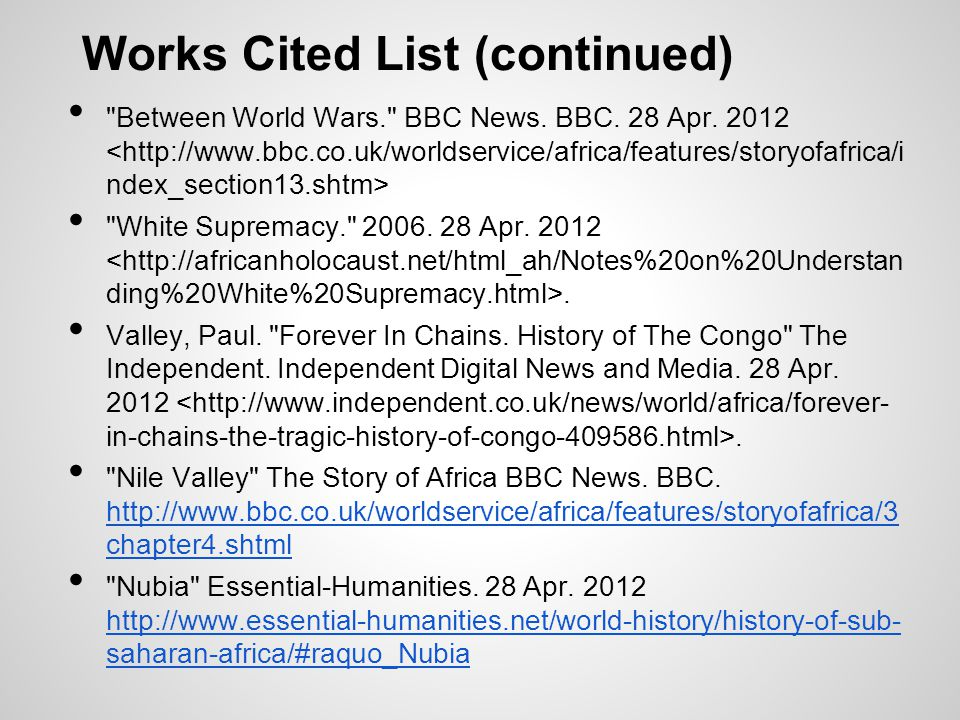 Works Cited List (continued)