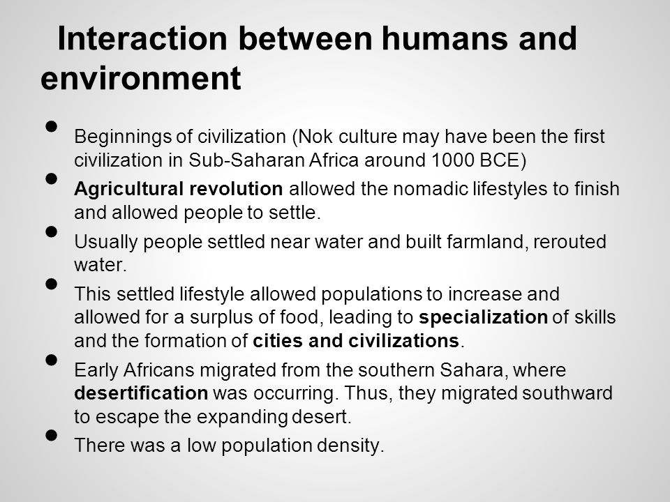 Interaction between humans and environment
