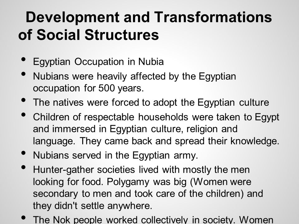 Development and Transformations of Social Structures
